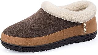 ULTRAIDEAS Men's Warm Memory Foam Slippers with Wool-Like Collar & Polar Fleece Lining, Suede House Shoes Indoor/Outdoor