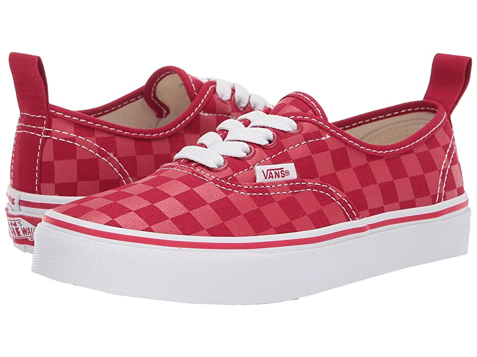 Vans Kids Authentic Elastic Lace (Little Kid/Big Kid) ((Checkerboard) Tango Red) Boys Shoes