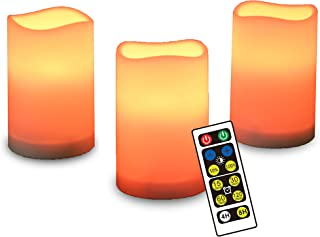 SHAREWIN Flameless Candles with Timer,LED Color Changing Candles with Remote Control,Battery Candles Outdoor & Indoor Decoration,Set of 3, 2.5