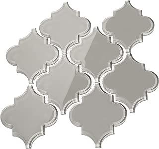 Giorbello Glass Arabesque Tile in Light Gray - 2 Sheets