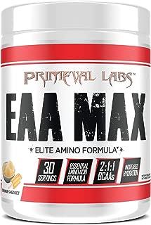 Primeval Labs EAA Max, Amino Acid Supplements, BCAAs, EAAs, Electrolytes, Enhances Performance, Supports Hydration, Improves Metabolism, Orange Sherbet, 30 Servings