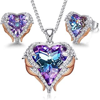 MXIN Angel Wing Heart Necklaces and Earrings Embellished with Crystals from Swarovski 18K White Gold Plated Jewelry Set Gi...