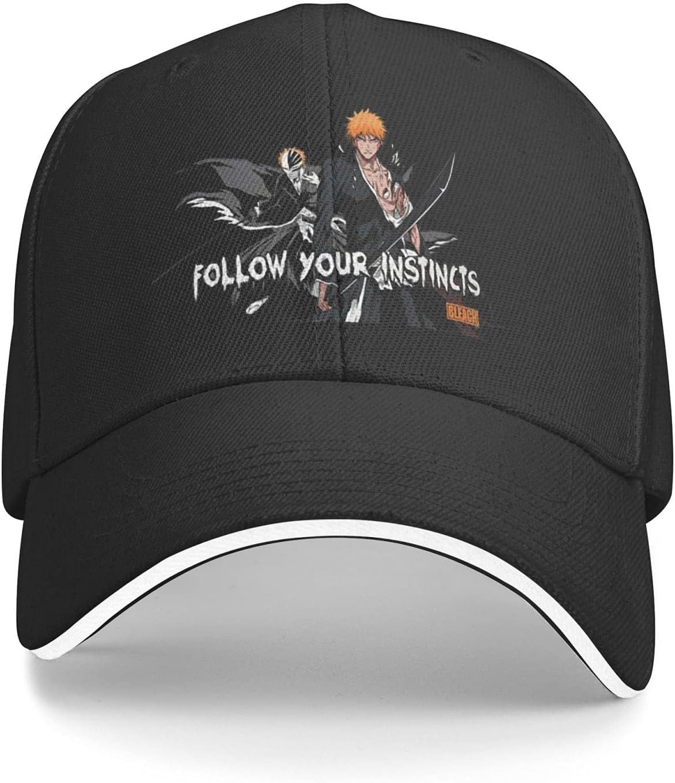 Anime Bleach Fitted Cap Athletic Baseball Cap Ball Hat Dad Hat Beach Sun Hat