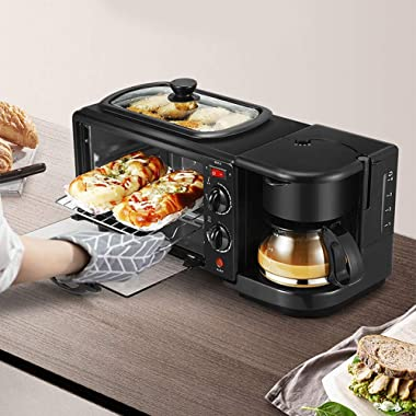 3-in-1 Family Size Electric Breakfast Station, Coffeemaker, NonStick Griddle, Toaster Oven, Portable Family Size Breakfast St