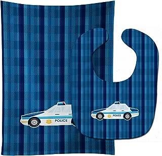 """Caroline's Treasures BB7009STBU Police Car Baby Bib & Burp Cloth, 11 x 18"""", multicolor"""