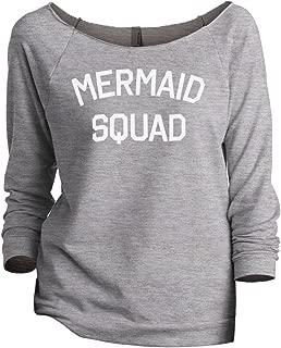 Mermaid Squad Women's Slouchy 3/4 Sleeves Raglan Sweatshirt Sport Grey
