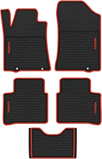 biosp Car Floor Mats Replacement for Nissan Altima 2013 2014 2015 2016 2017 2018 Front and Rear Heavy Duty Rubber Liner Set Black Red Vehicle Carpet Custom Fit-All Weather Guard Odorless