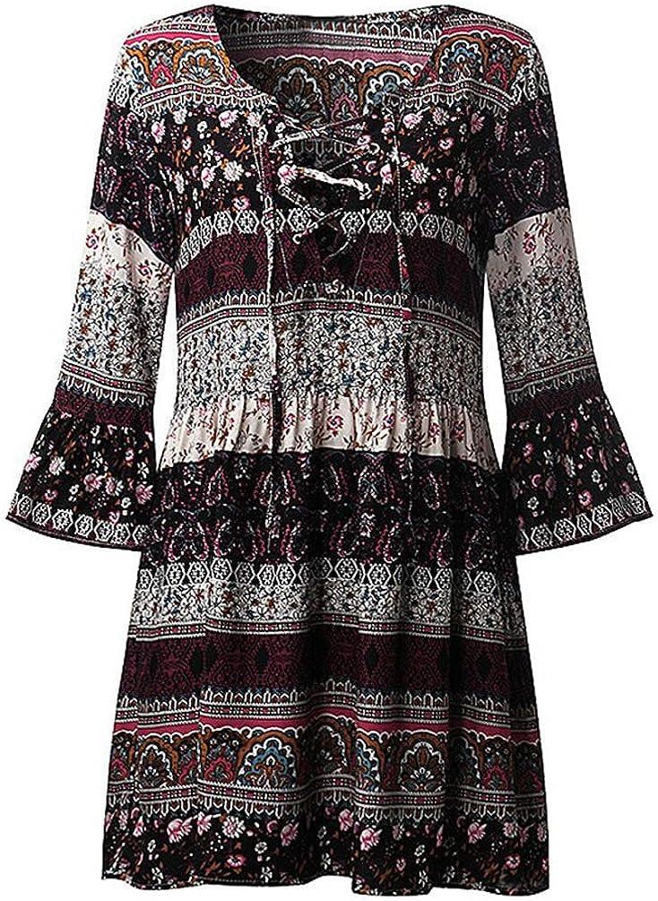 unisex Women Summer Miami Mall Boho Dresses Long Floral Tunic Dress Maxi Bohemian