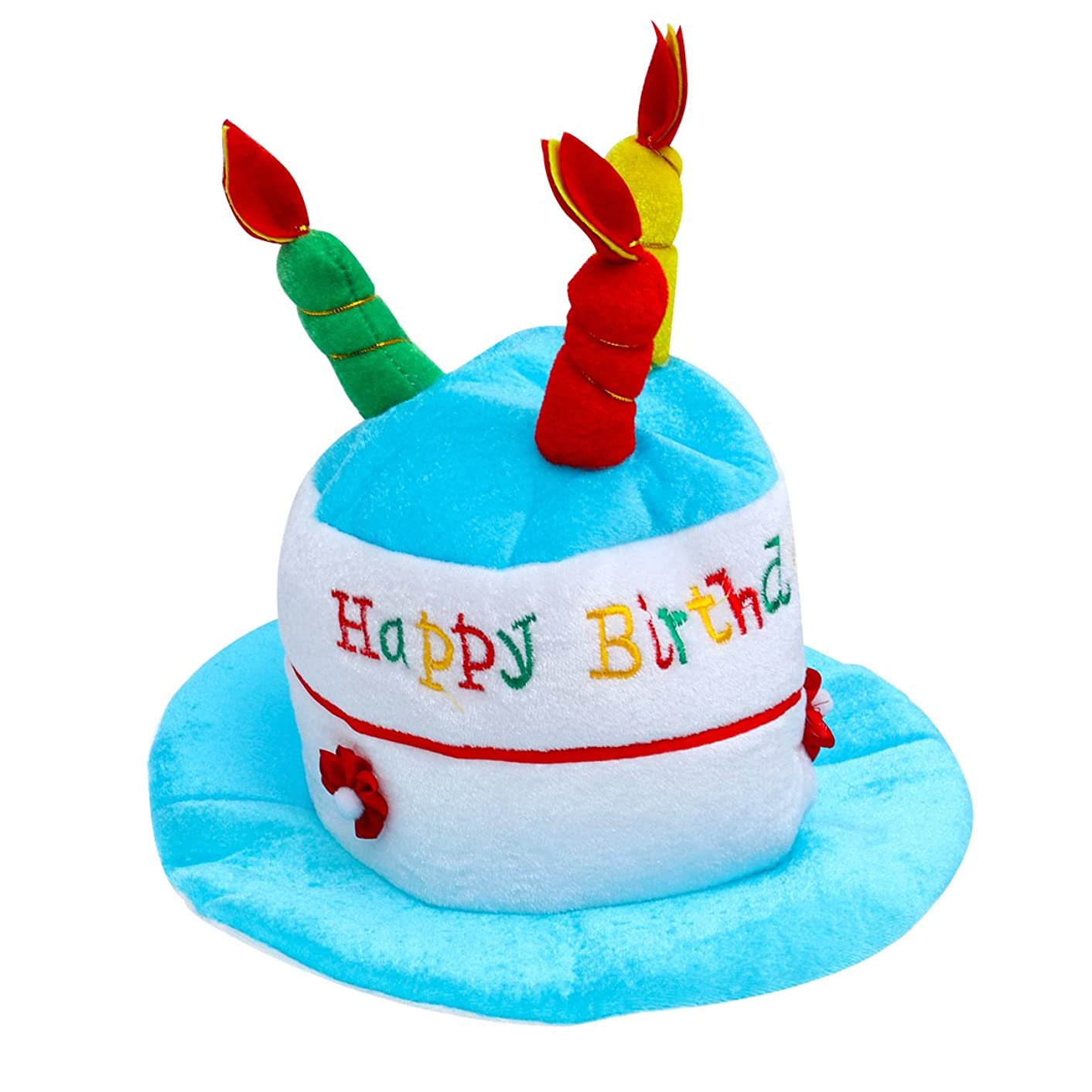 BESTOYARD Kids Happy Birthday Cake Hat with Candles Novelty Party Hat for Children's Birthday Party Costume Decoration (Blue)