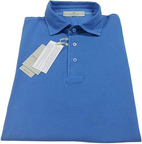 PANICALE Polo Hommes mi Manches Manches avec Fentes Latérales Latéraux Bleu 100% Coton