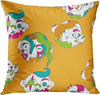 Meofo Throw Pillow Cover Pattern Lovely Zombies Bright Colors Strange The Accumulation Births Decorative Polyester Soft Pillowcase for Sofa Office Cushion Bedroom Car Square 16 x 16 Inch