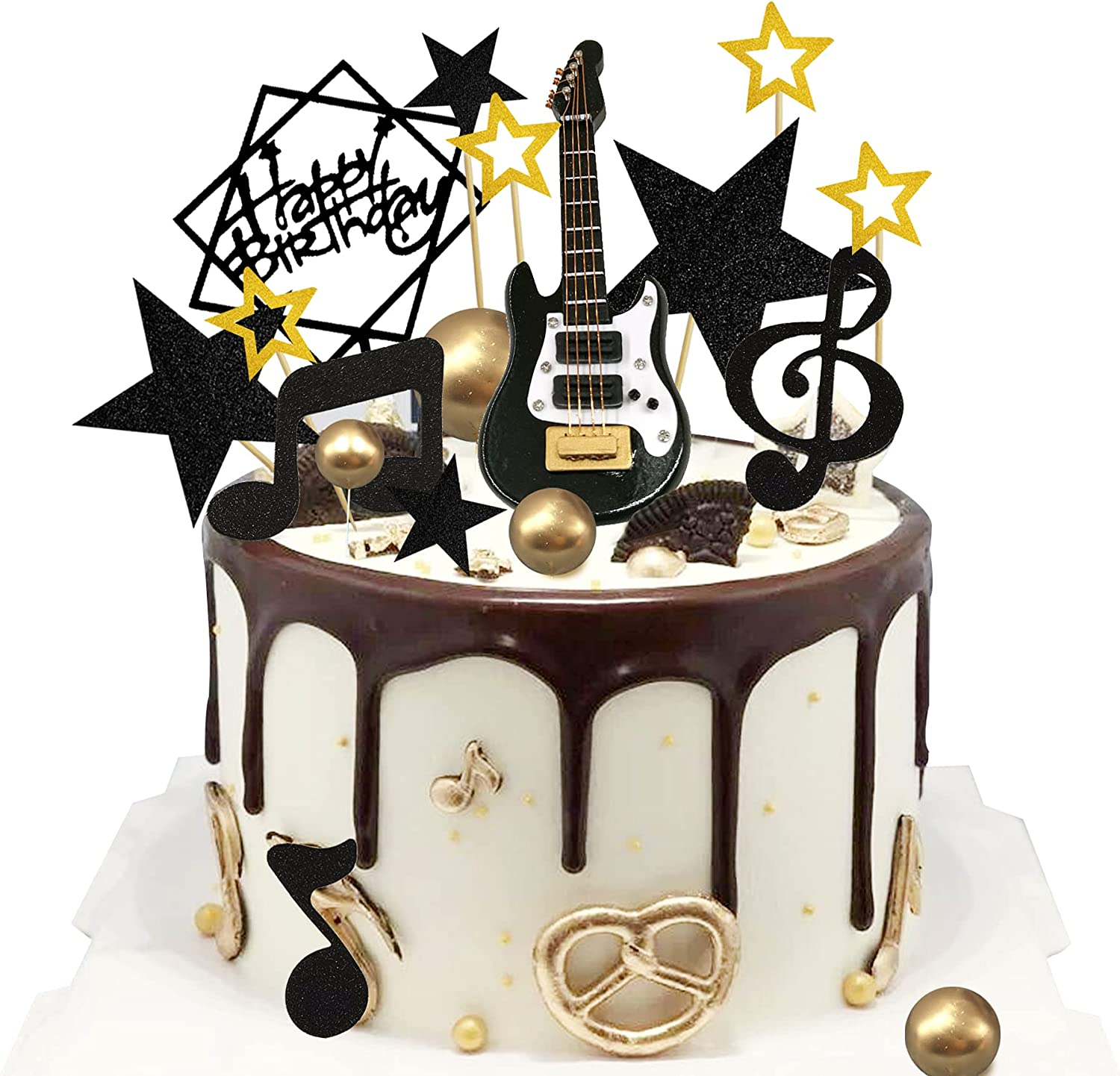 24PCS Guitar Cake Toppers Note Music 1:12 Dealing full price reduction Birthday safety