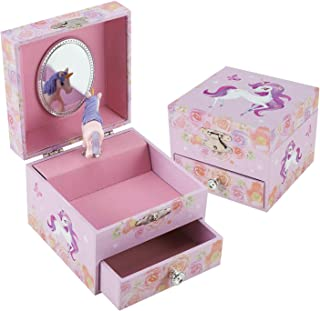 TAOPU Sweet Square Musical Jewelry Box with Spinning Cute Little Pony Figurines Music Box Jewel Storage Case for Girls