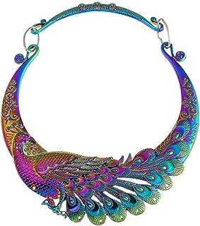 17Rainbow Women Fashion Large Costume Jewelry Vintage Peacock Statement Necklace Chunky Collar Choker