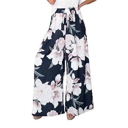5f6a8ddf2d BerryGo Women's Boho High Waist Wide Leg Pants Floral Print Summer Beach  Pants