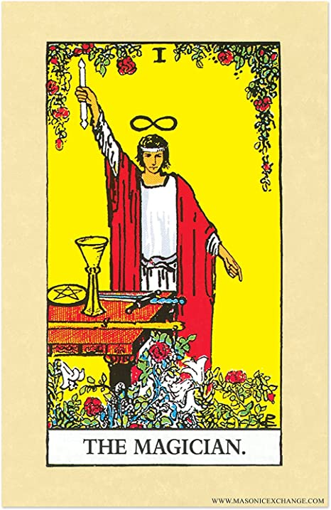 The magicin card from a tarot deck.