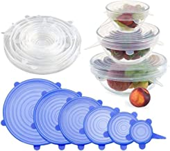 FreShine Reusable Silicone Stretch Lids, Durable Food Storage Covers for Bowls, Fit Different Sizes & Shapes of Container, Dishwasher & Freezer Safe (Pack of 6)