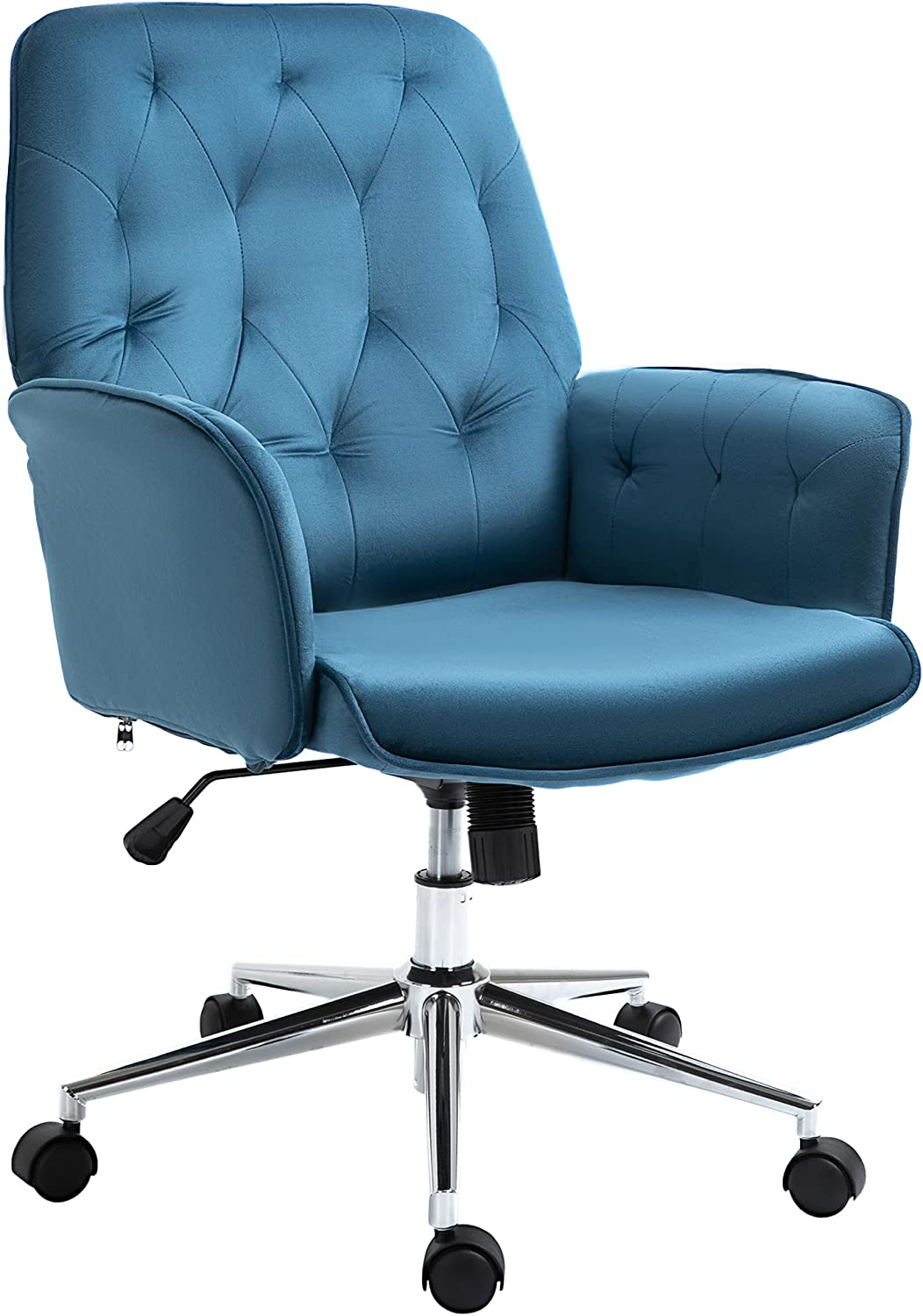 Vinsetto Modern Mid-Back Tufted Velvet Fabric Home Office Desk Chair with Arms, Swivel Adjustable Task Chair, Upholstery Accent Chair with Soft Seat, Metal Base - Blue
