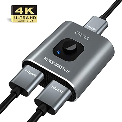 HDMI Switch 4K HDMI Splitter - Gana Prime Aluminum Bi-Directional HDMI Switcher 1 in 2 Out (Single Display) or 2 Input 1 Output, Supports 4K 3D HD 1080P for Xbox PS4 Roku HDTV etc. product image