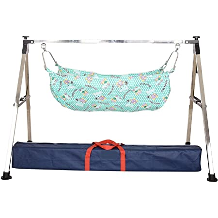 A TO Z HUB Baby Boy's and Girl's Portable Folding Swing Cradle, Silver