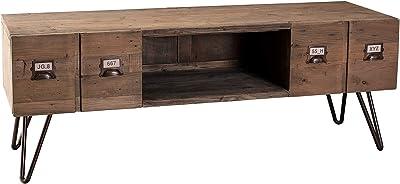MACABANE Meuble TV 2 tiroirs, Pin, Marron, 130,5 x 40,5 x 48,5 cm