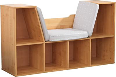 KidKraft Wooden Bookcase with Reading Nook, Storage and Gray Cushion - Natural, Gift for Ages 3-8