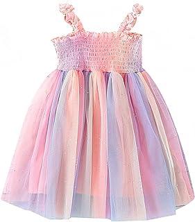 KnniMorning TEES Girls Sleeveless Dress Multicolor Lace Strap Toddler Girl Long Dress Summer Clothing (Pink,5-6 Years)