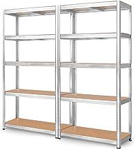 Lot de 2 étagères de Rangement pour Charges Lourdes 180 x 90 x 40 cm Charge Max. 875 kg 5 étagères réglables en métal Étag...