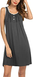 Sleepwear Womens Cotton Nightgowns Night Shirts Sleeveless Sleep Dress S-XXL