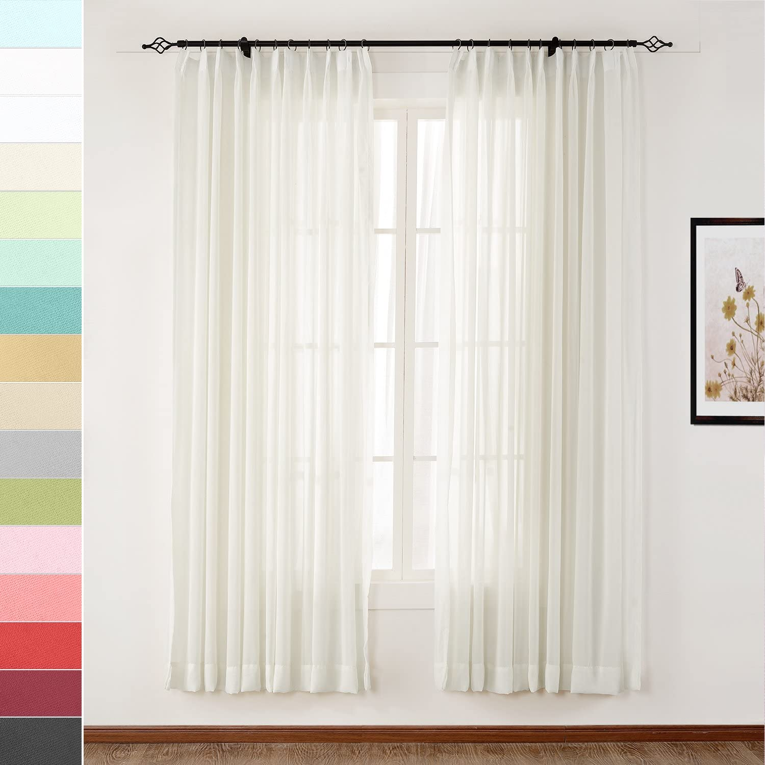 Macochico Elegant Semi Ranking TOP5 Sheer Curtains Pleat Baltimore Mall Pinch Dr Light Voile