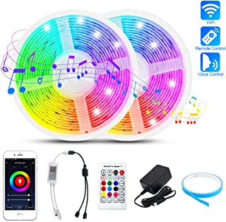 Arzerlize LED Strip Lights,  WiFi Smart RGB Strips 32.8ft SMD5050 300 LEDs Lights for Bedroom Music Sync Color Changing Rope Tape Lights Indoor Outdoor IP65 Waterproof APP + IR Remote + Alexa Control
