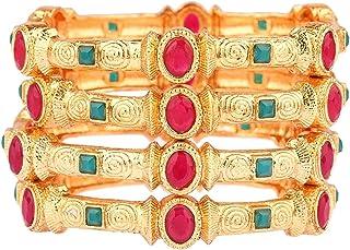 Efulgenz Indian Bangle Set Bollywood Traditional Crystal Bracelet Jewelry for Women (Set of 4), Gold, 2-4