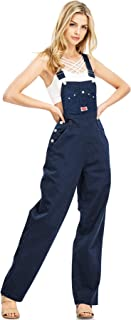 Revolt Women's Juniors Baggy Straight Leg Twill Overalls