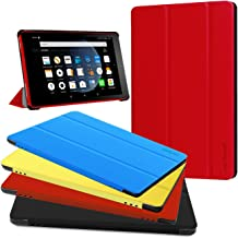 Fire HD 8 Case - Zerhunt Ultra Light Slim Fit Protective Cover with Auto Wake/Sleep for Fire HD 8 Tablet (2018/2017 Release,8th/7th Generation) Red
