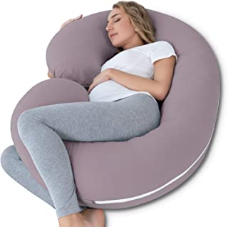 INSEN Pregnancy Pillow,Maternity Body Pillow for Pregnant Women,C Shaped Full Body Pillow with Zippers Jersey Cover