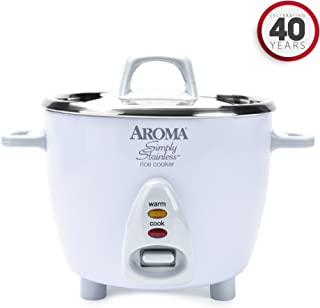 Aroma Housewares Simply Stainless 14-Cup (Cooked) (7-Cup UNCOOKED) Rice Cooker, Stainless Steel Inner Pot (ARC-757SG)