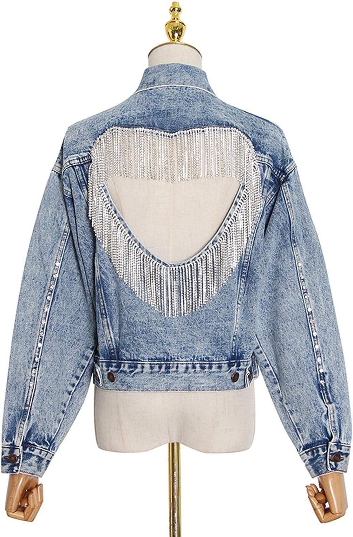 Denim Jacket Spring Temperament Behind Lapel Heavy Industry Rhinestone Tassel Love Denim Jacket Female Jacket (Color : Blue, Size : M)