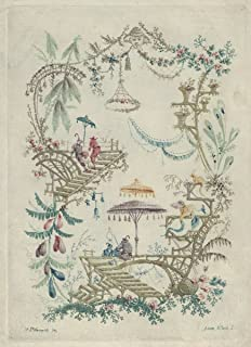 Historic Pictoric Fine Art Print - Designed by Jean Pillement - Chinoiserie from Nouvelle Suite de Cahiers Arabesques Chinois 1 - Vintage Wall Art - 16in x 20in