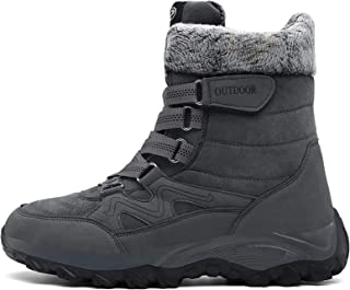 SAGUARO Snow Boots Warm Fur-lined Shoes for Girls Boys Outdoor Velvro Anti-skid