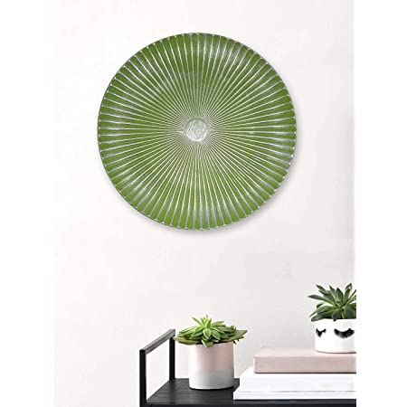 Art Street Green Color Set of 1 MDF Decorative Wall Plate,Wall Decor Plates for Home & Office-Size-11.5x11.5 Inches