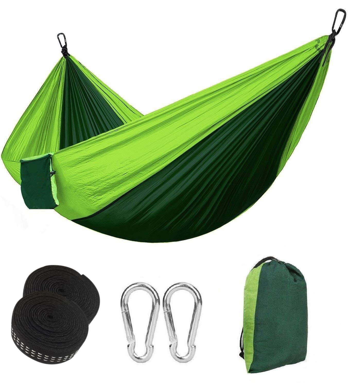 Eastshining Hamaca Colgante 270 * 140cm 300kg Capacidad de Carga Ultra Ligera Nylón de Paracaída Portátil y Transpirable, Ideal para Viaje Jardín, Camping (Color Verde): Amazon.es: Jardín