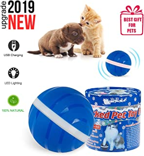 【New Upgrade】 Second Generation Cat and Dog Toy Wicked Ball, Smart Interactive For Dog Pet Toy, New Start-Stop Function USB Rechargeable With LED Lights Automatic Rolling Smart Ball Waterproof Silicon