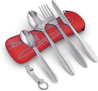comprar comparacion BRAMBLE! 5 Premium Acero Inoxidable Set de Cubiertos Portátiles para Llevar, Viajes, Trabajo, Acampada/Camping, Picnic - C...