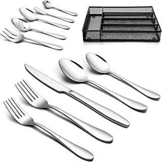 LIANYU 45-Piece Silverware Set with Utensil Drawer Organizer, 5 Piece Serving Utensils, Stainless Steel Flatware Cutlery Tableware Set for 8, Dishwasher Safe