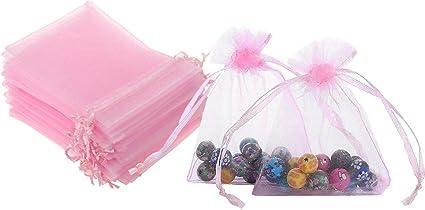 Amazon Com 50 Bolsas De Regalo De 5 0 X 7 0 In Color Rosa Organza Transparente Transparente De Tela Con Cordón De Cinta De Satén Para Regalo De Baby Shower Fiesta De Boda Decoración
