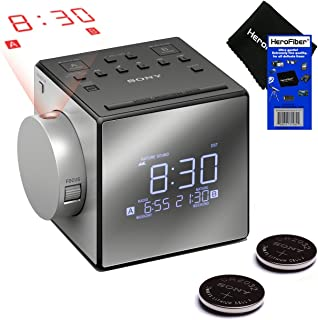 New & Improved - Sony Projector Dual Alarm Clock with Extendable Snooze, 5 Nature Sounds, AM/FM Radio, Built-in Calendar, ...