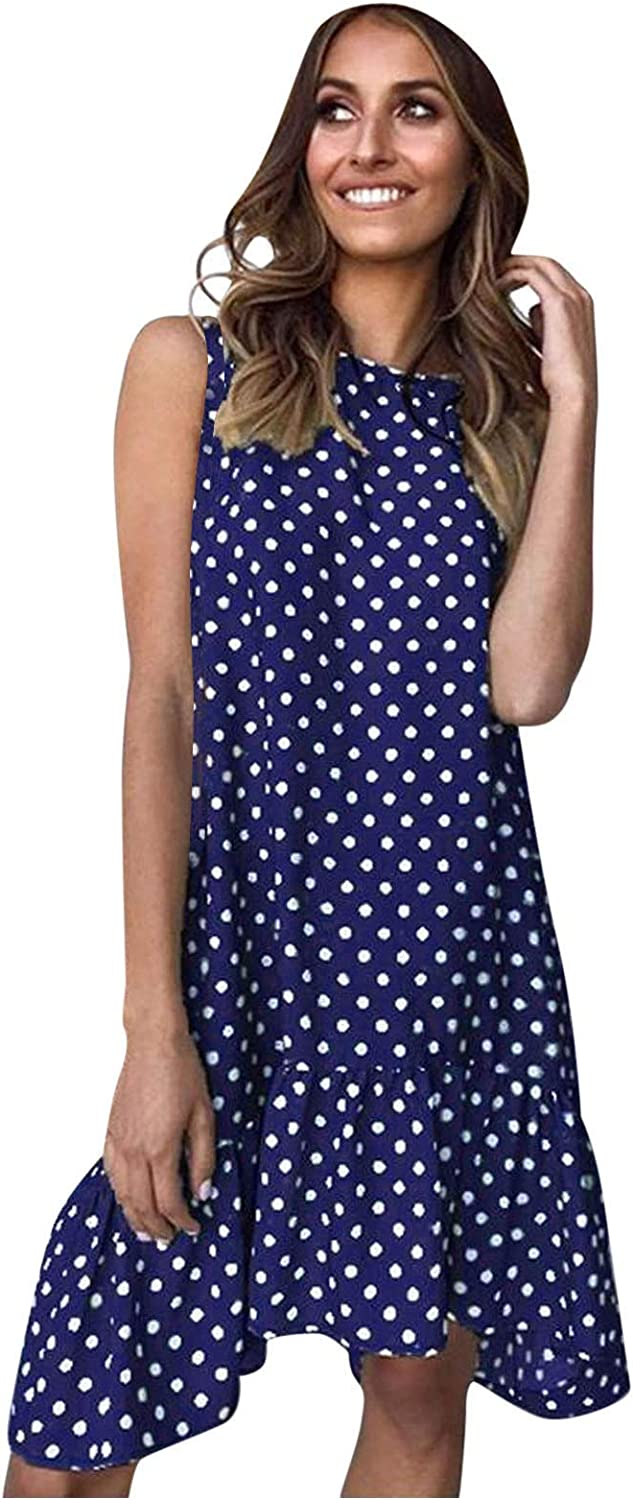 Gwewei4df 2021 Fashion Clearance SALE Limited time Round Neck Dot Loose Lar Directly managed store Polka Sleeveless