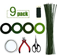 Timoo Floral Arrangement Kit,9 Pack Floral Arrangement Tools Include Floral Wire Cutter Shears, 4 Floral Tape,100 Pcs Stem Wire, Paddle Wire and Double-Sided Tape for Florist and Floral Design Lovers