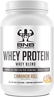 BNB 100% Whey Protein - Cinnamon Roll Flavor - 21g of Protein per Serving - 2lb Tub - Mixes Easily - Delicious Protein Recovery Shake - by BNB Supplements
