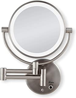 Zadro LED Lighted Dual-Sided 5X/1X Magnification Wall Mount Bathroom Beauty Makeup Mirror, Satin Nickel